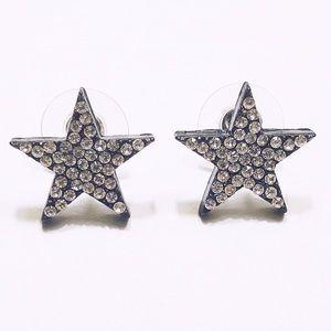 ⭐️ STAR EARRINGS BLACK WITH SILVER RHINESTONES